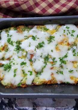 Cheese and beef bread pudding
