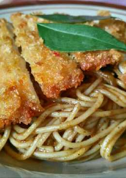 Spaghetti Curry With Chicken Katsu