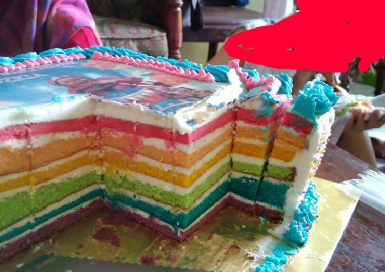 Rainbow cake tema frozen