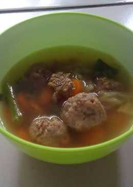 Sop daging bakso sapi (no telur)