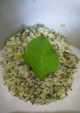 Nasi Goreng Bayam dengan Daging Cincang