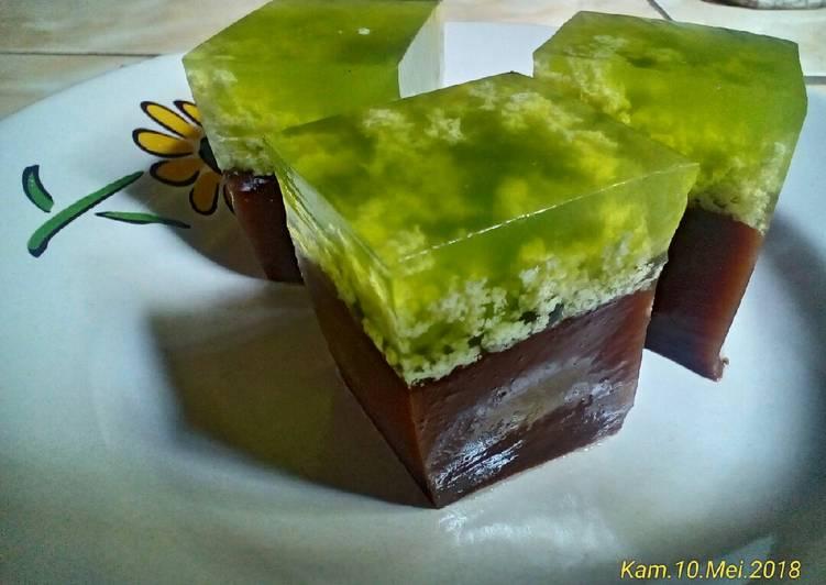 Puding lumut green tea lapis coklat #BikinRamadhanBerkesan