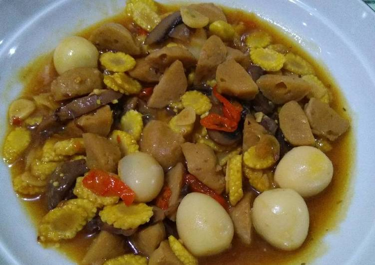 Tumis putren telur puyuh jamur bakso, menu bekal yang gampil 😄
