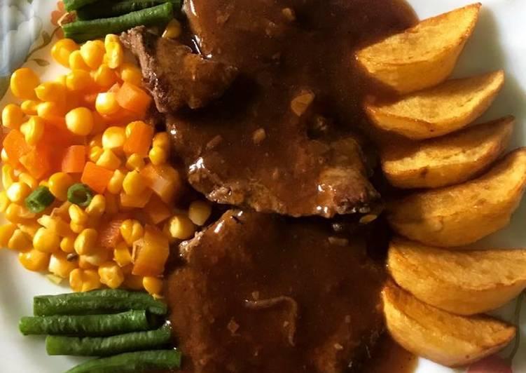 Resep Beef Steak Black Pepper Sauce Ibu Rendra Kiriman Dari Tyasamarendra Al Islams
