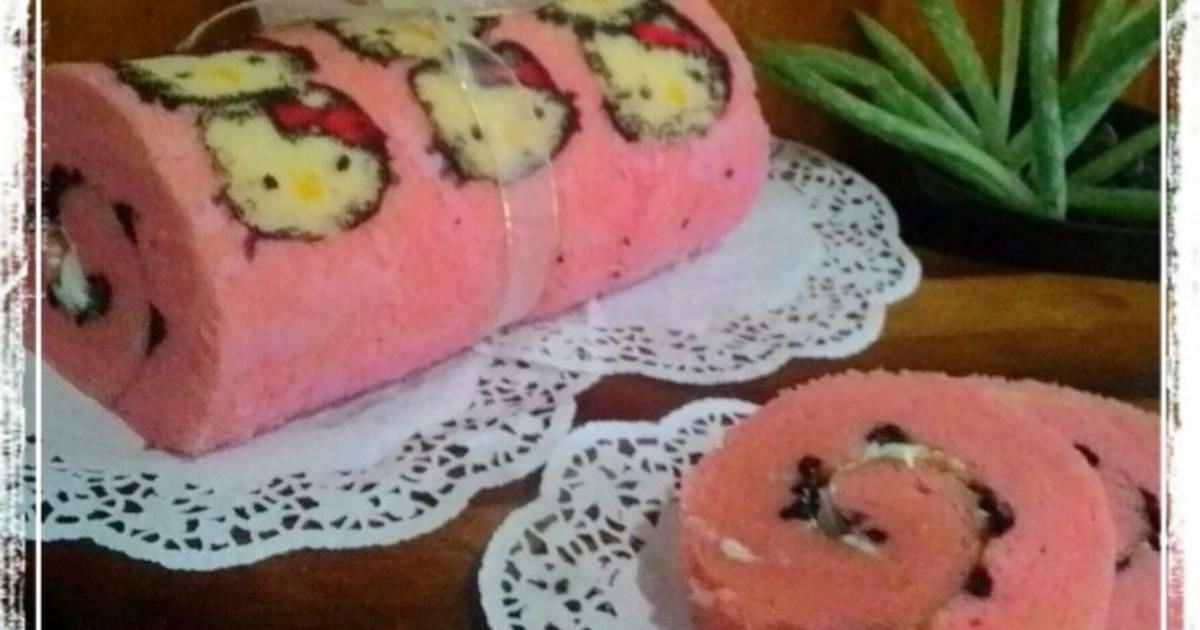 Resep Cake Kukus Hesti Kitchen: Resep Bolu Gulung Kukus / Roll Cake Karakter Hellokitty