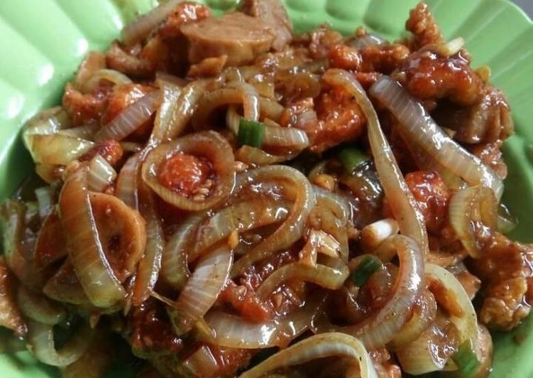 Ayam pop crispy + bakso sapi saus teriyaki 😁