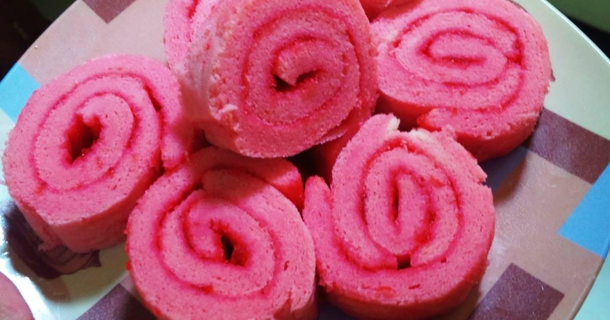 Resep Roll Cake Kukus Ekonomis: Resep Kue Lebaran: Resep Roll Cake/Bolu Gulung Pink (serba