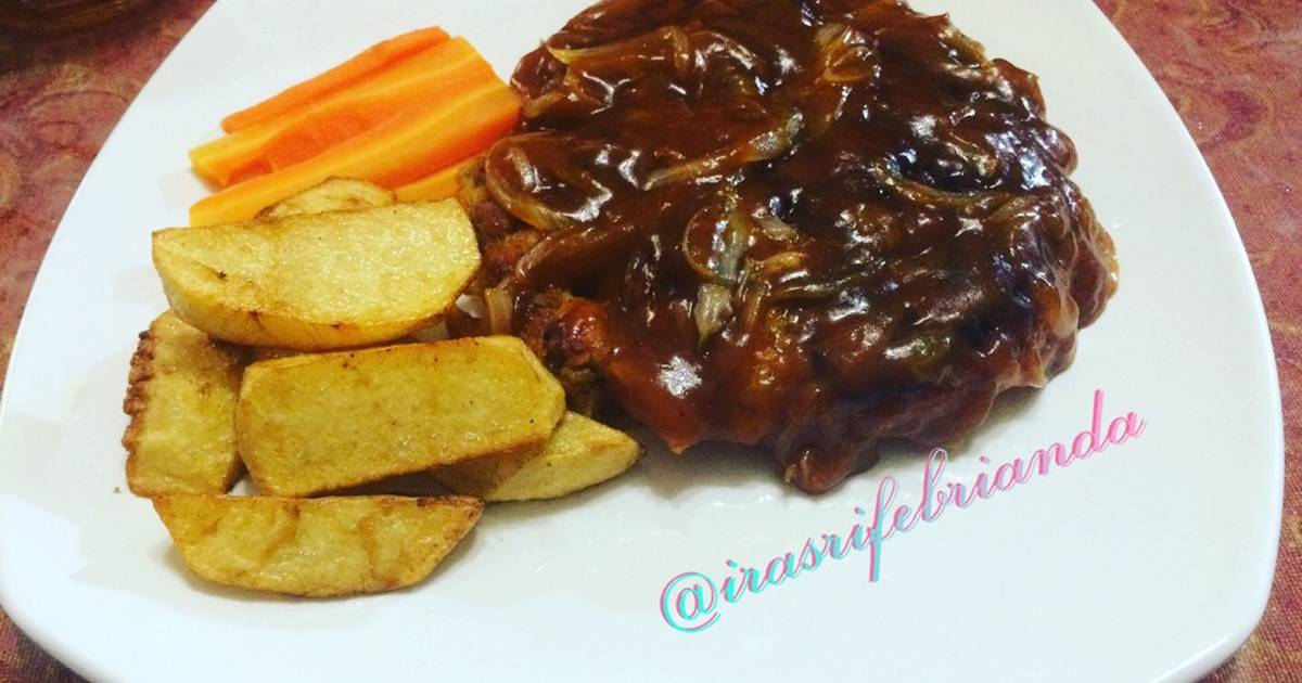 resep burger steak steak daging cincang oleh ira sri