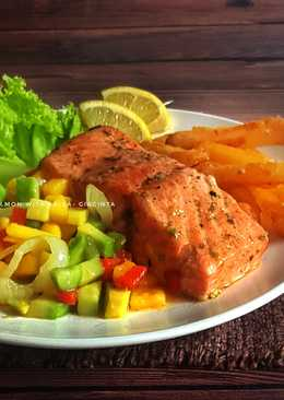 Grilled lemon Salmon with Salsa #SeafoodFestival