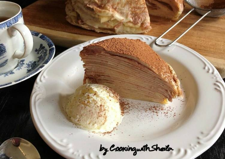 Red bean mille crepes cake