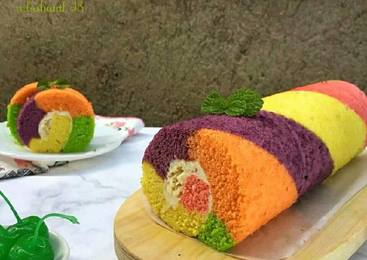 Rainbow Roll Cake (kukus)