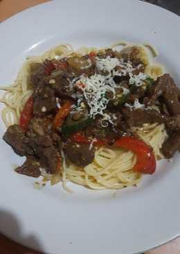 Spagheti daging lada hitam