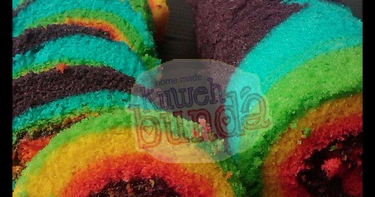 Resep Rainbow Rollcake alias Bolu Gulung Pelangi