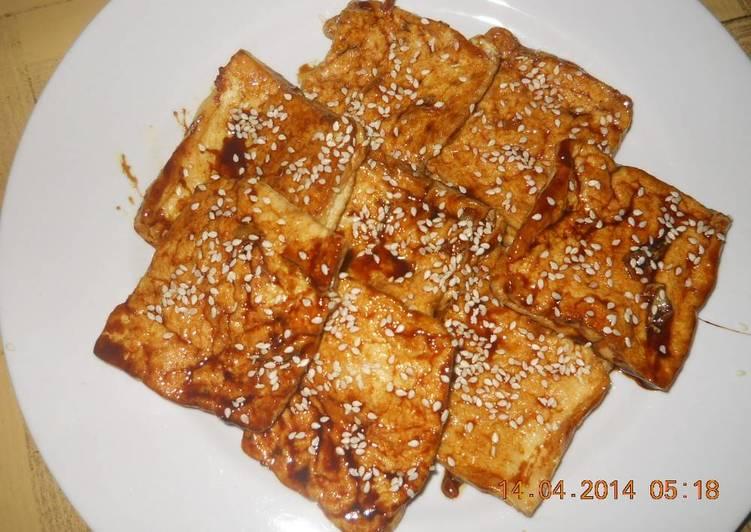 Resep Korea Pan fried tofu in soy sauce Karya anisatur raehan