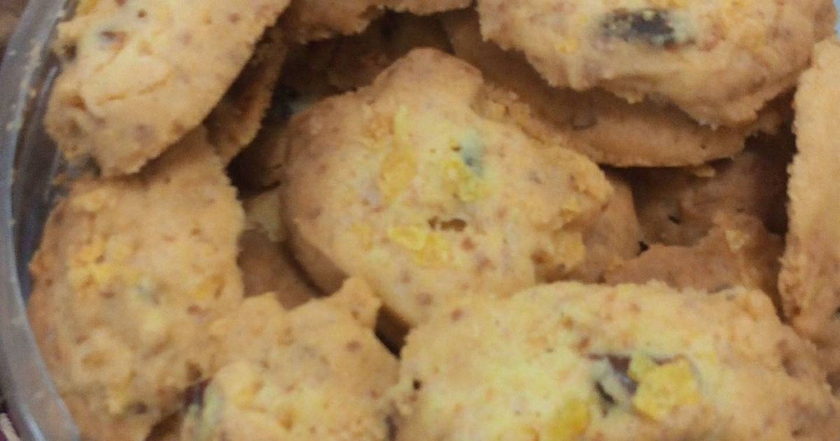 Resep Cookie Corn Flakes with Kurma and Cheese