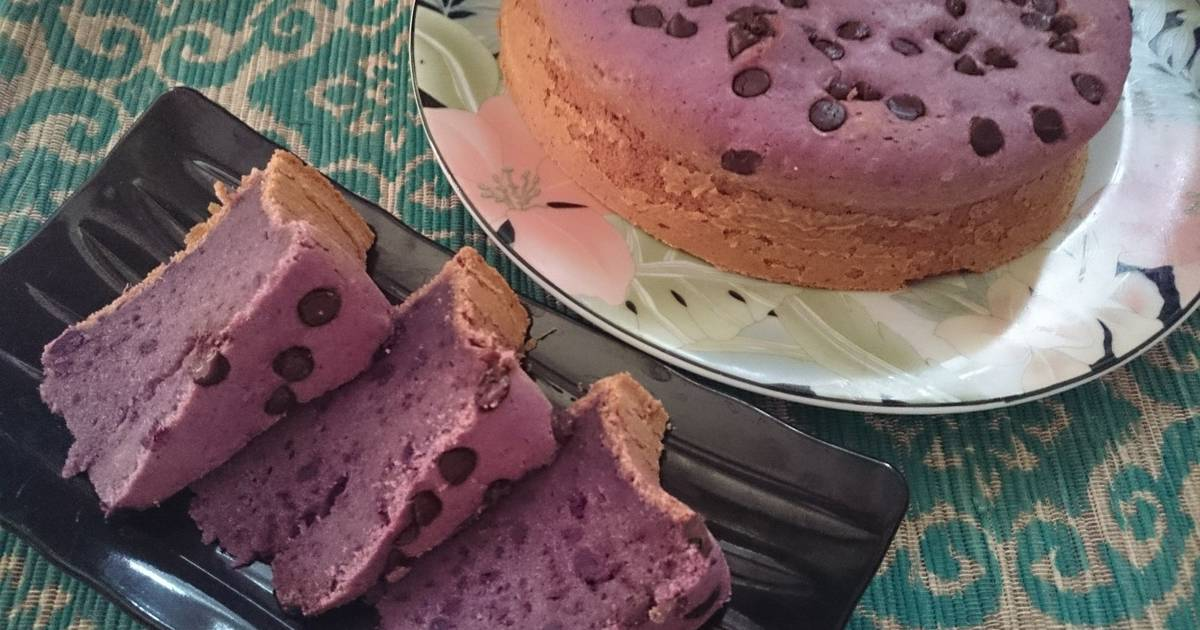 Resep BOLU UBI UNGU DGN COKELAT CHIPS (Purple sweet potato and chocolate chips cake)