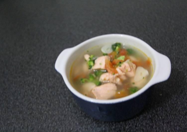 Resep Sup Ikan Salmon Segeerrr Mpasi 1 Tahun Ke Atas Oleh Diaz