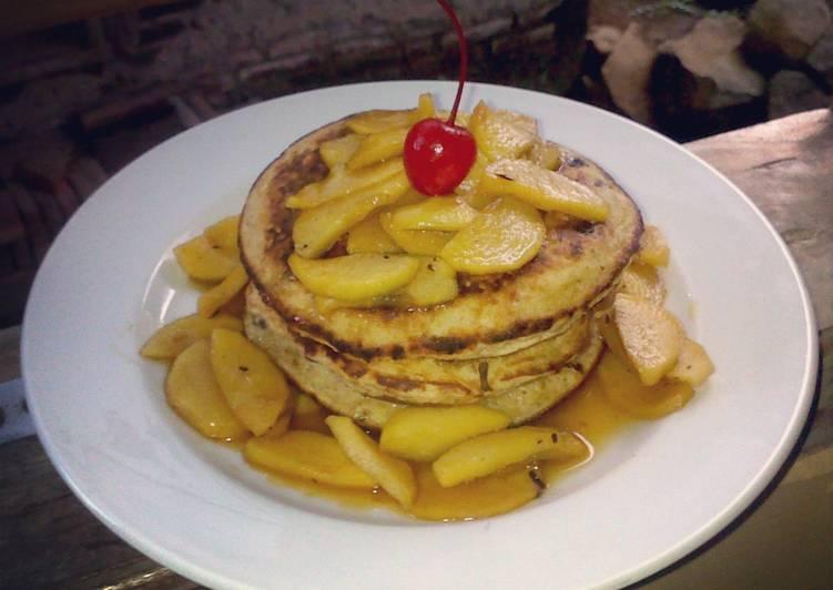 Resep Pancake Oatmeal Kismis Topping Apel Kayumanis untuk Diet Karya Novi Nouf