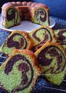 Pandan Cokelat Marmer Cake
