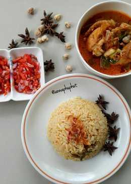 Nasi kebuli ayam with kari and sambel matah