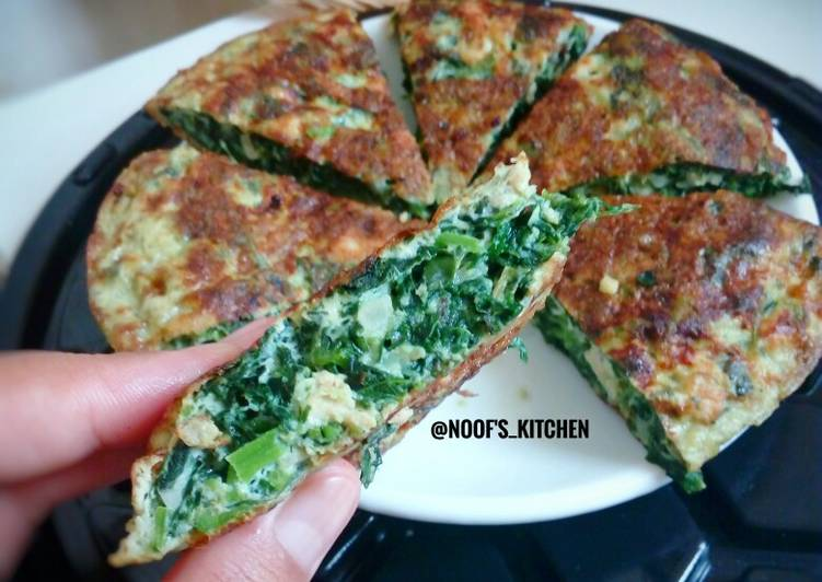 Spinach Omelette / Telur dadar bayam #step_by_step