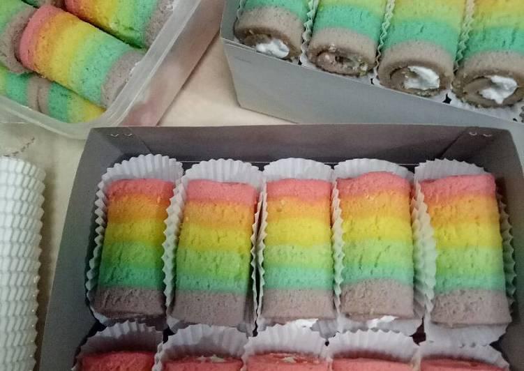 Resep Rainbow Cake Gulung Mini Oleh Nine Fajarwati Cookpad