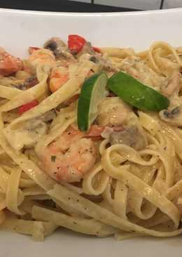 Fettucini lime with shrimp n mushroom