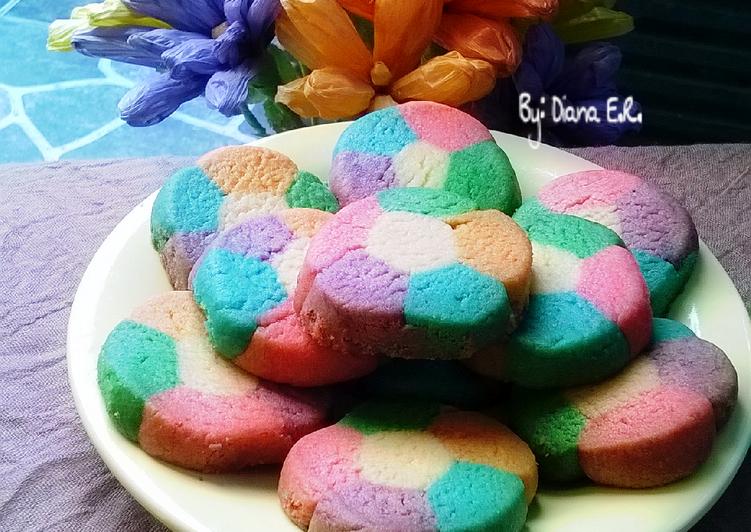 resep kuker bunga rainbow 3 bahan no mixer oleh diana