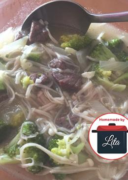 Sapi saus tiram cah brokoli enoki lezat sehat #homemadebylita