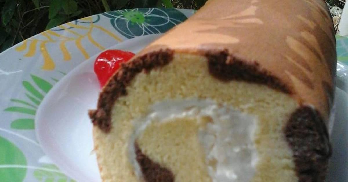 Resep Vanilla roll cake chocodot abstrak