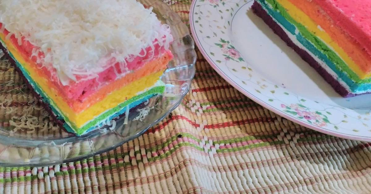 Resep Rainbow Cake Kukus Istimewa