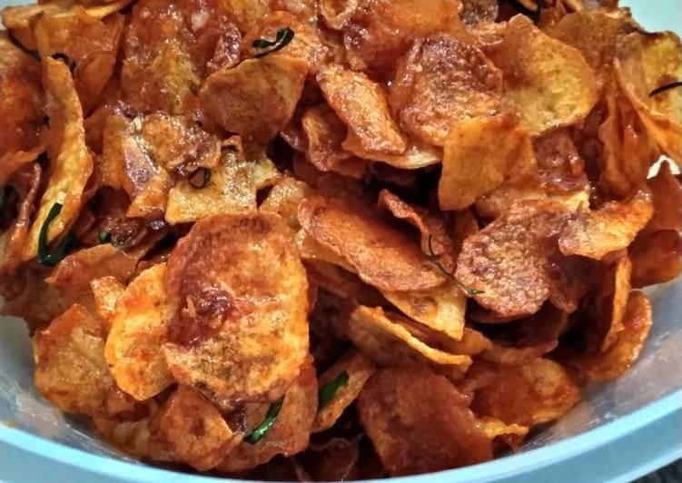 Klengkam/ keripik kentang pedas manis foto resep utama