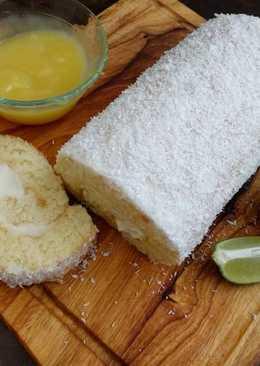Lemon Coconut Roll Cake