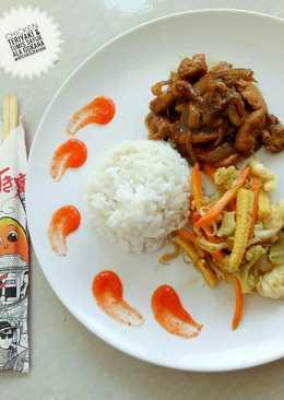 Chicken teriyaki & yasai itame (tumis sayur)