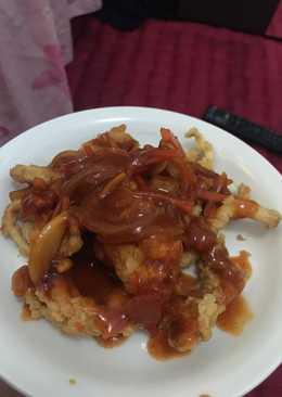 Jamur crispy saus asam manis (rumahan)