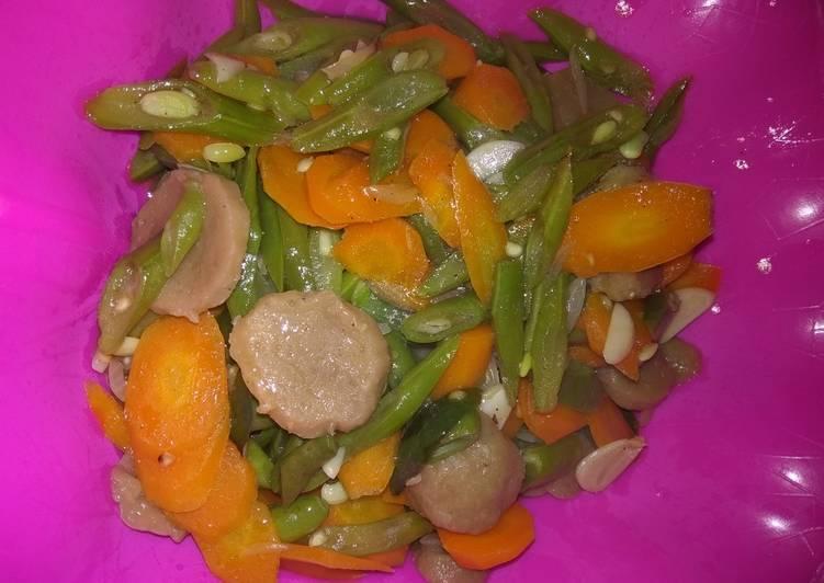 Tumis buncis wortel bakso