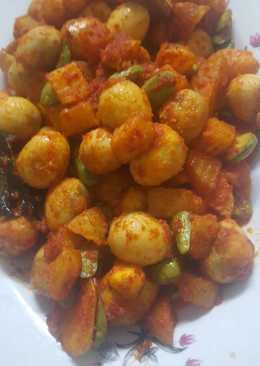 Sambel goreng kentang telor puyuh pete