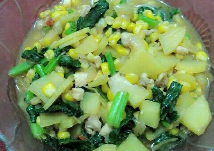 bahan dan cara membuat Sauteed sweet spicy vegetables (tumis sayuran pedas manis)