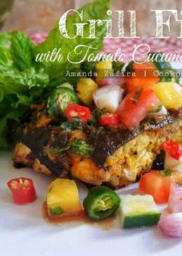 Grill fish with tomato cucumber salsa
