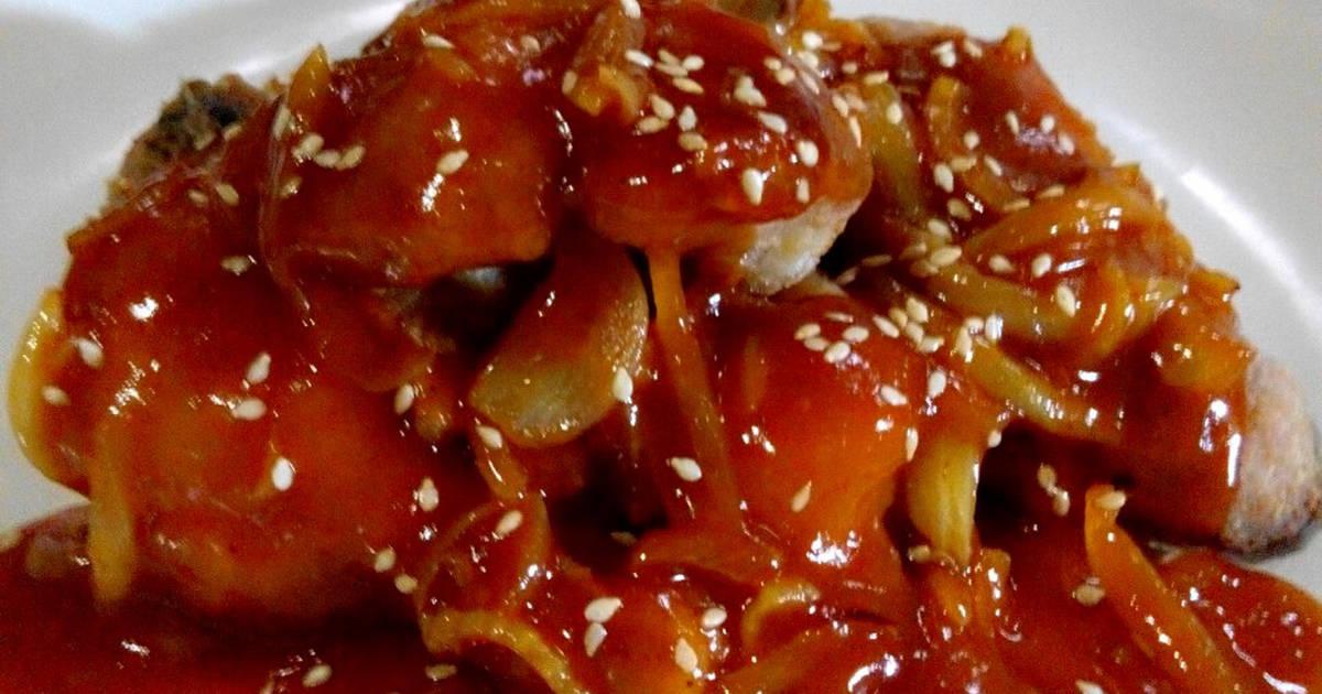 resep yangnyeom tondak ala banjar korean food oleh the