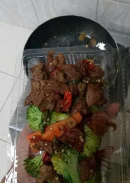 Tumis daging sapi untuk diet, no oil, no garam no micin,