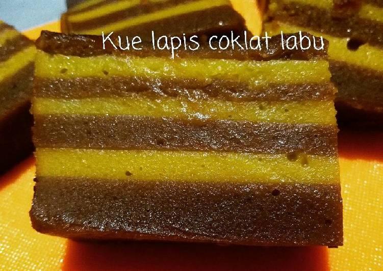 Resep Kue Lapis Coklat Labu Karya PinK Kitchen