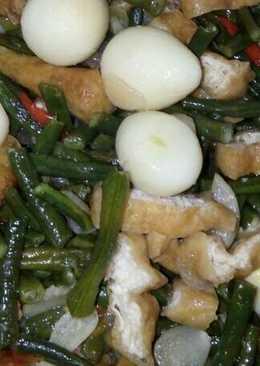 Tumis kacang panjang, tahu dan telur puyuh