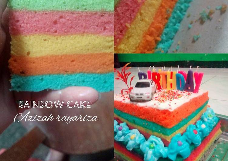 Resep Rainbow cake kukus oleh Azizah Rayariza Cookpad