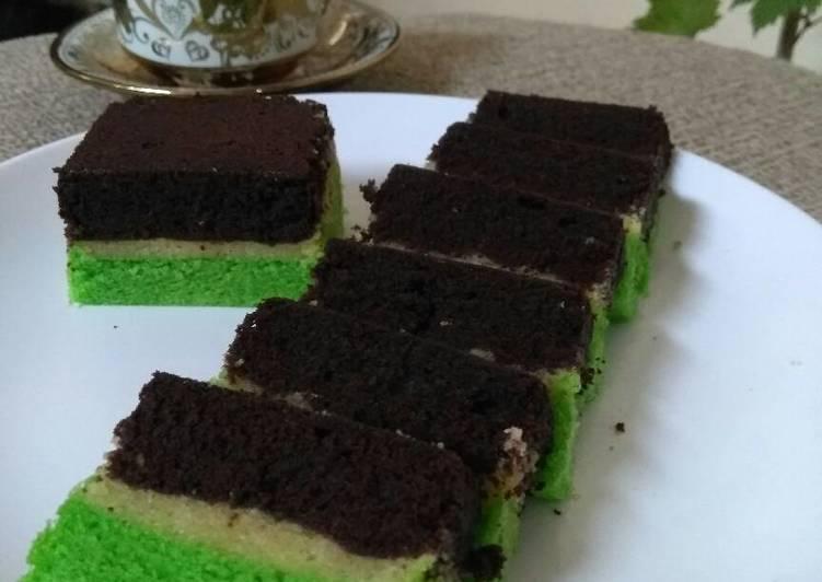 Resep Brownies Kukus Coklat Pandan - Ony Laili