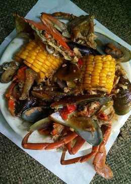 Kepiting Kerang Ijo ala Resto Seafood