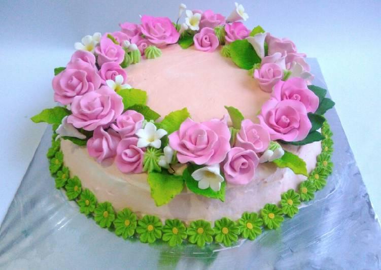 Cake bolu cokelat hias shabby