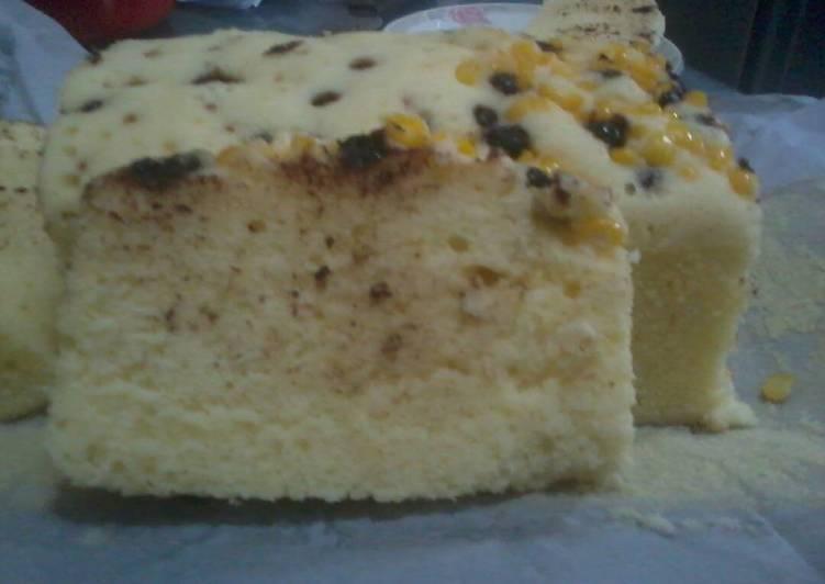 Lemon Cake Kukus tabur chocochip & jagung manis