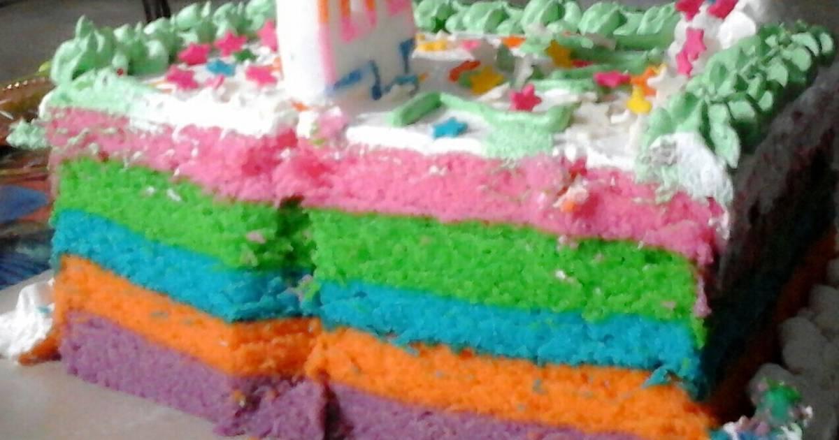 Resep Rainbow Cake Kukus Istimewa: Resep Kue Lebaran: Resep Rainbow Cake Kukus Syantiek