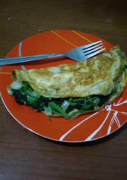 Omelet telur isi bayam